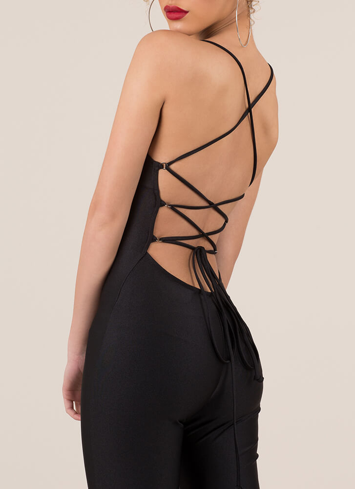 Laces Wild Strappy Back Jumpsuit BLACK