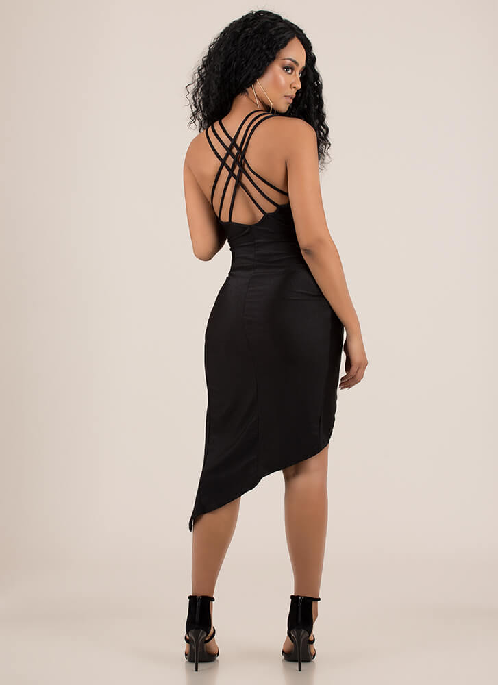 Strappy Night Out Caged Back Dress BLACK