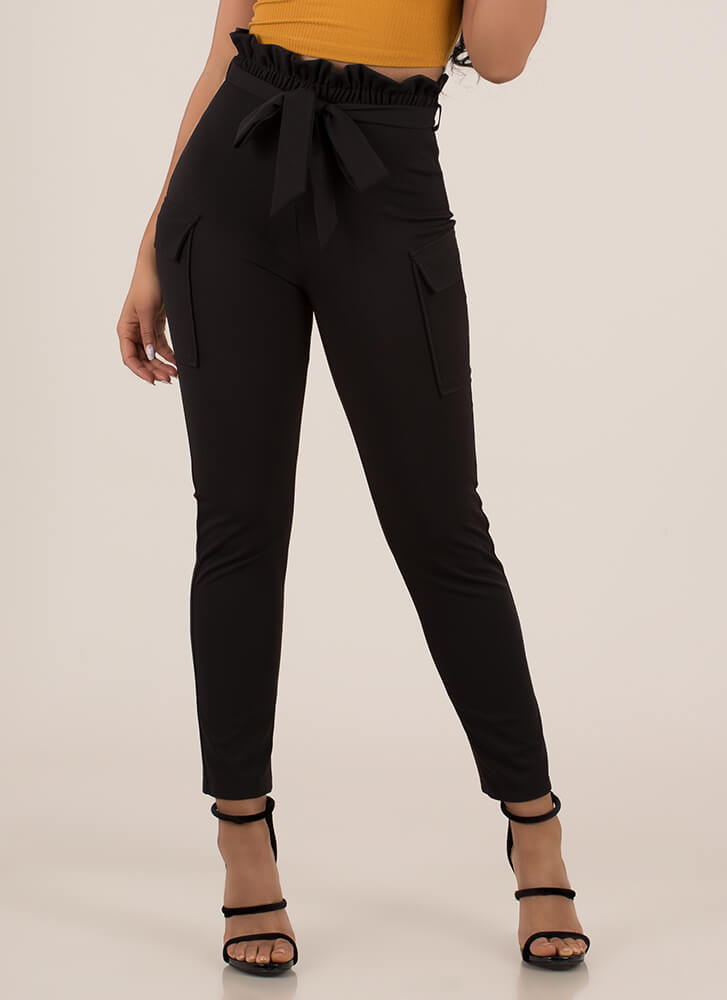 Fun And Frilly Tied Cargo Pants BLACK (You Saved $24)