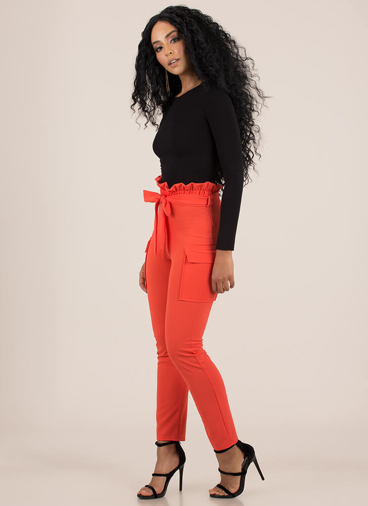 Fun And Frilly Tied Cargo Pants ORANGE (Final Sale)