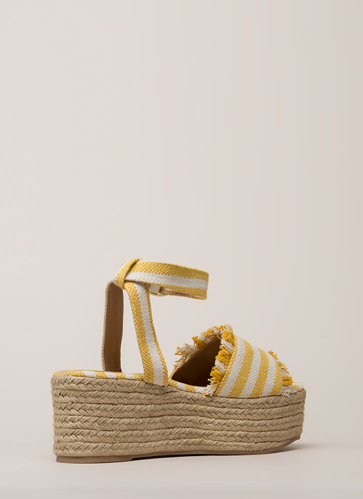 Long Vacation Striped Wedge Sandals YELLOWBEIGE
