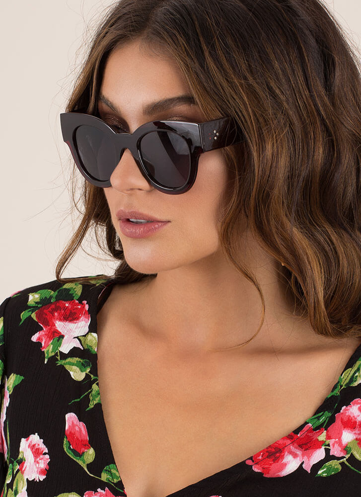 Day In The Sun Chunky Sunglasses BURGUNDY (You Saved $4)