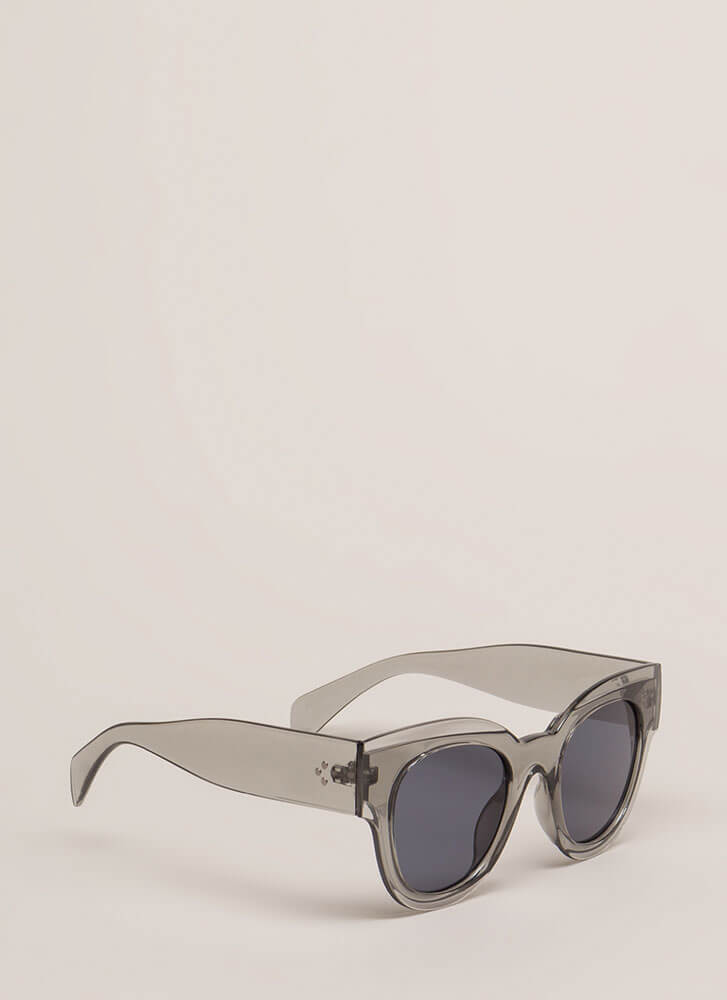 Day In The Sun Chunky Sunglasses GREY (You Saved $4)