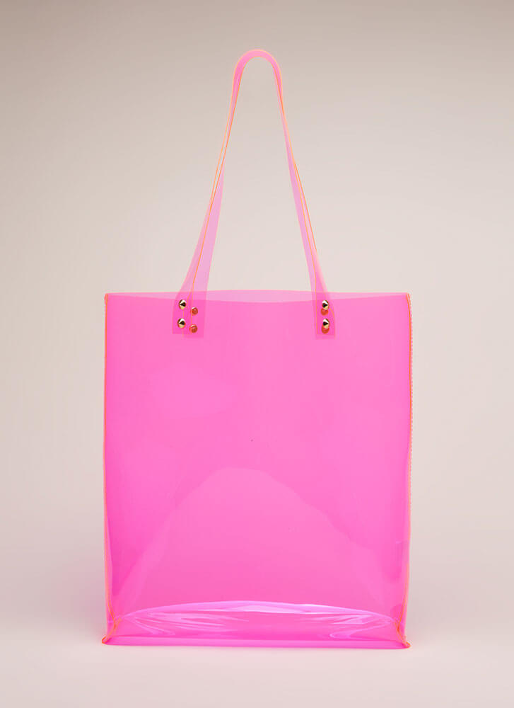 Just For Show Clear PVC Tote Bag PINK