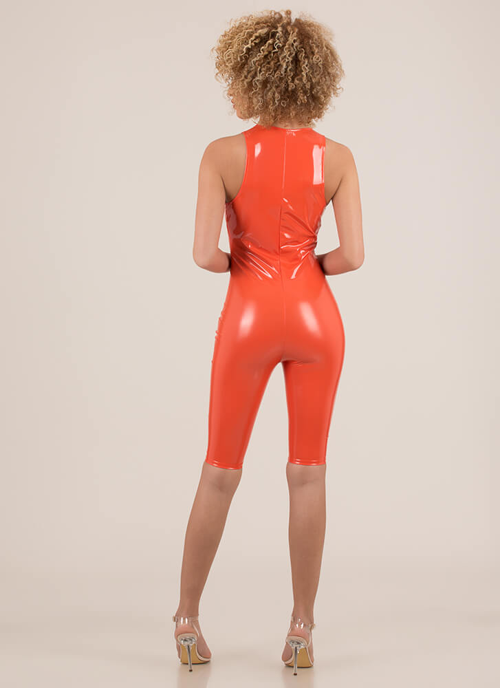 Gloss Lady Plunging Faux Patent Romper ORANGE