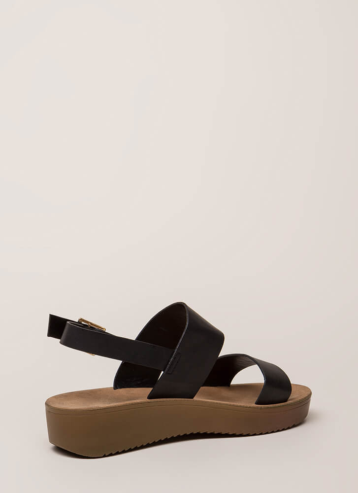 All Day Faux Leather Platform Sandals BLACK