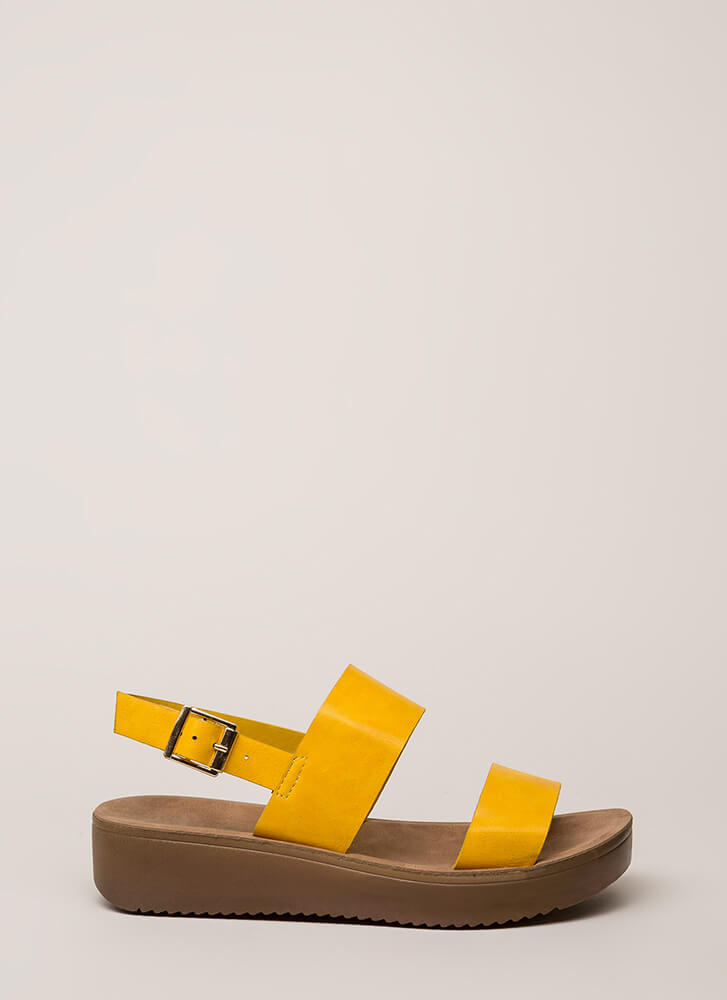 All Day Faux Leather Platform Sandals MARIGOLD (You Saved $15)