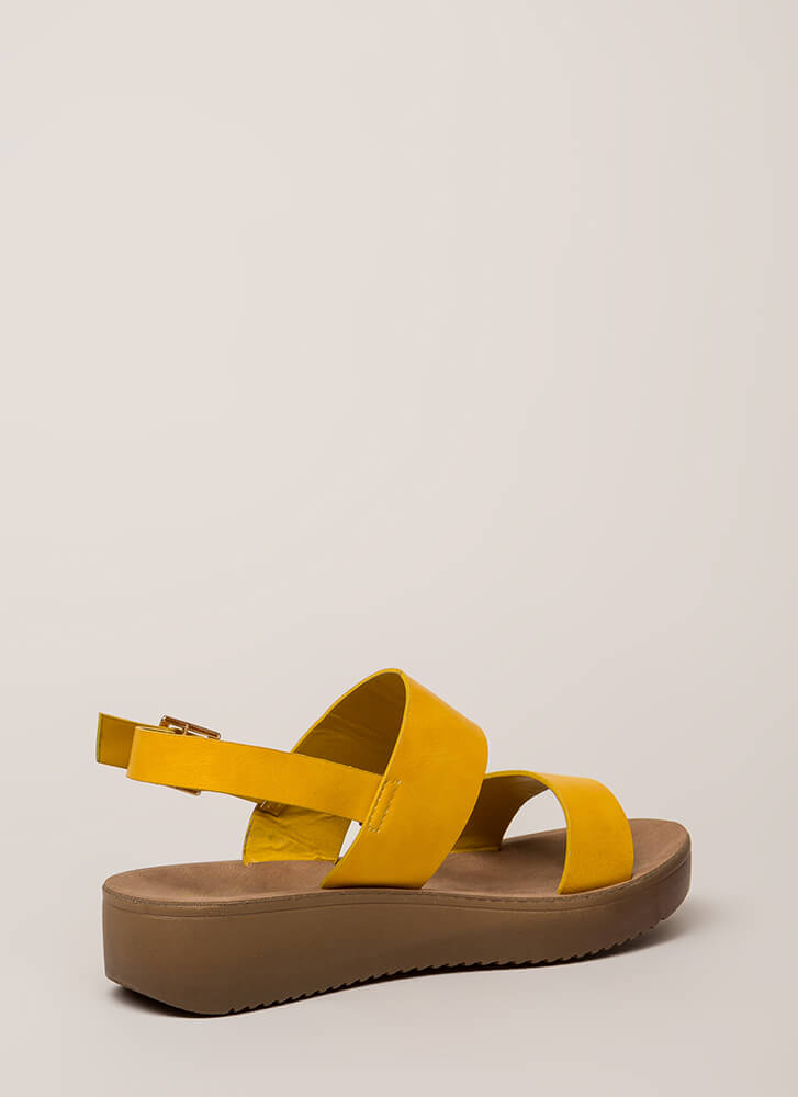 All Day Faux Leather Platform Sandals MARIGOLD