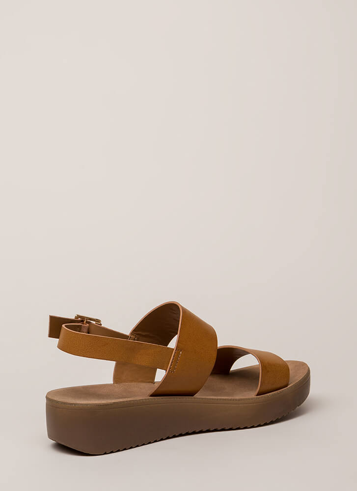 All Day Faux Leather Platform Sandals TAN (You Saved $15)