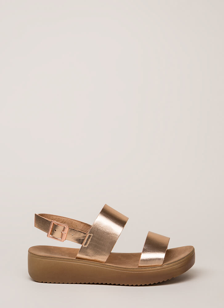 All Day Metallic Platform Sandals ROSEGOLD (Final Sale)