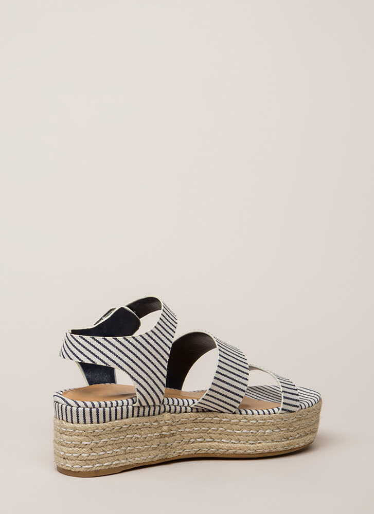 Beach Baby Strappy Striped Wedges NAVY