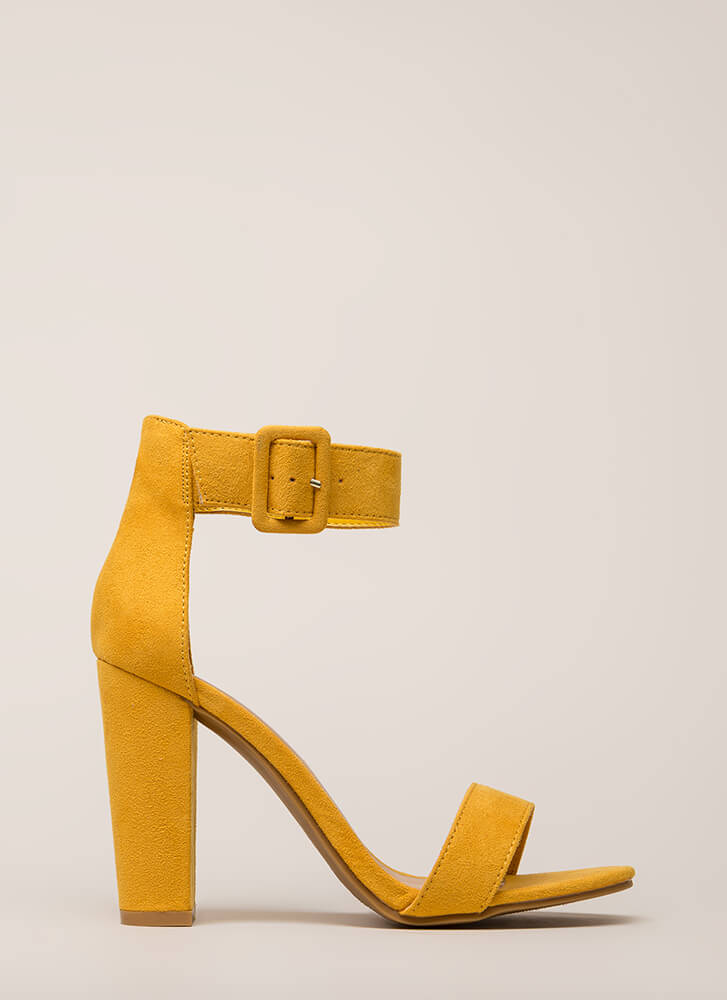 I'm In Love Chunky Faux Suede Heels MARIGOLD