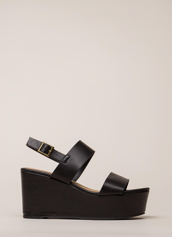 Win-Win Faux Leather Platform Wedges BLACK