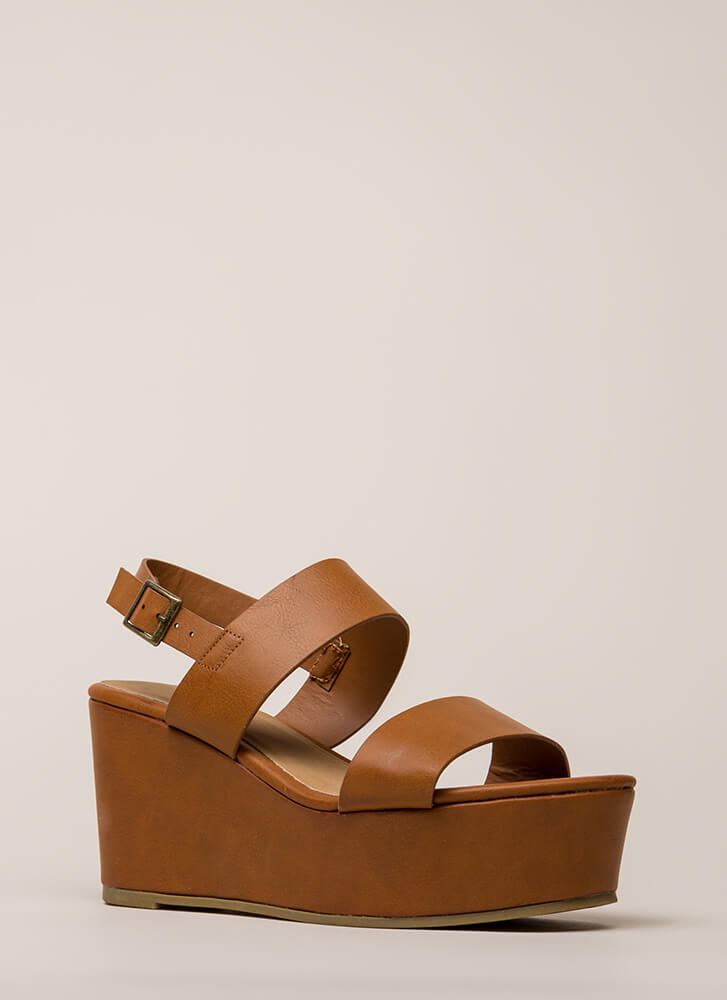 Win-Win Faux Leather Platform Wedges TAN