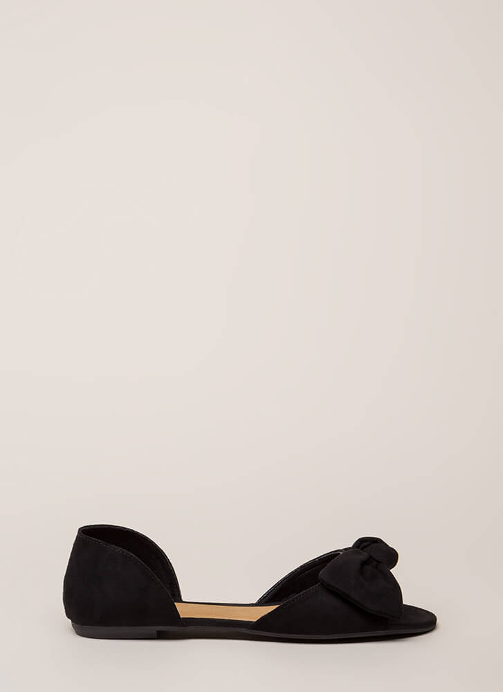 Bow All Out Faux Suede D'Orsay Flats BLACK