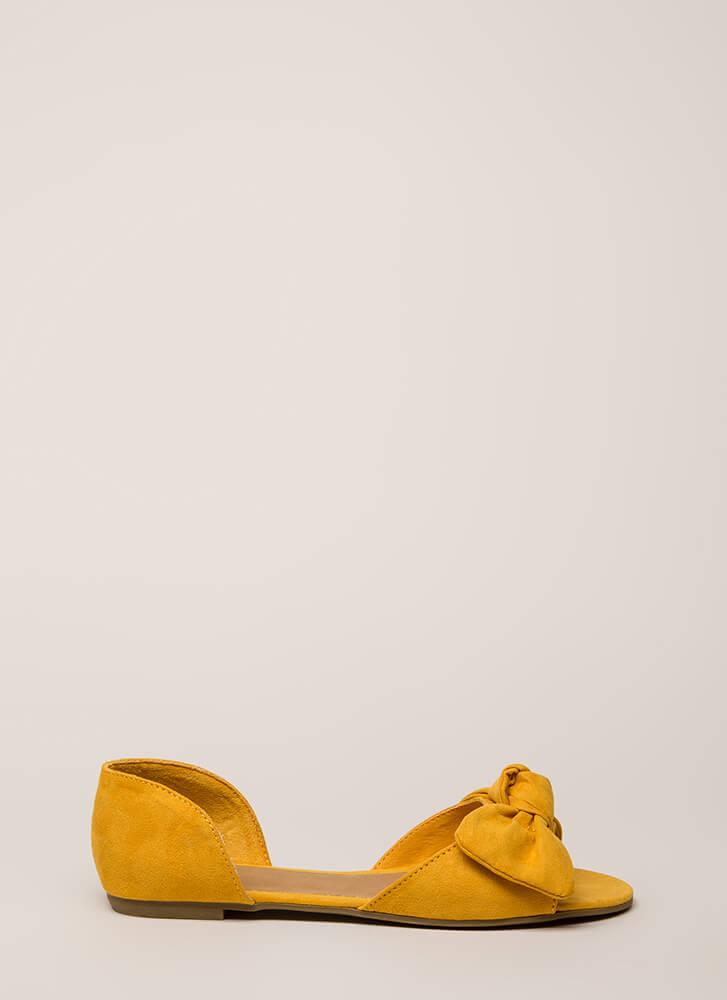 Bow All Out Faux Suede D'Orsay Flats MARIGOLD