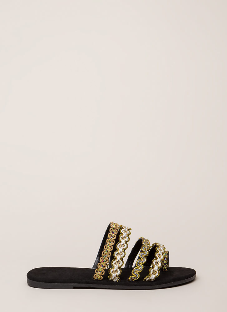 It's Sew You Strappy Embroidered Sandals BLACK