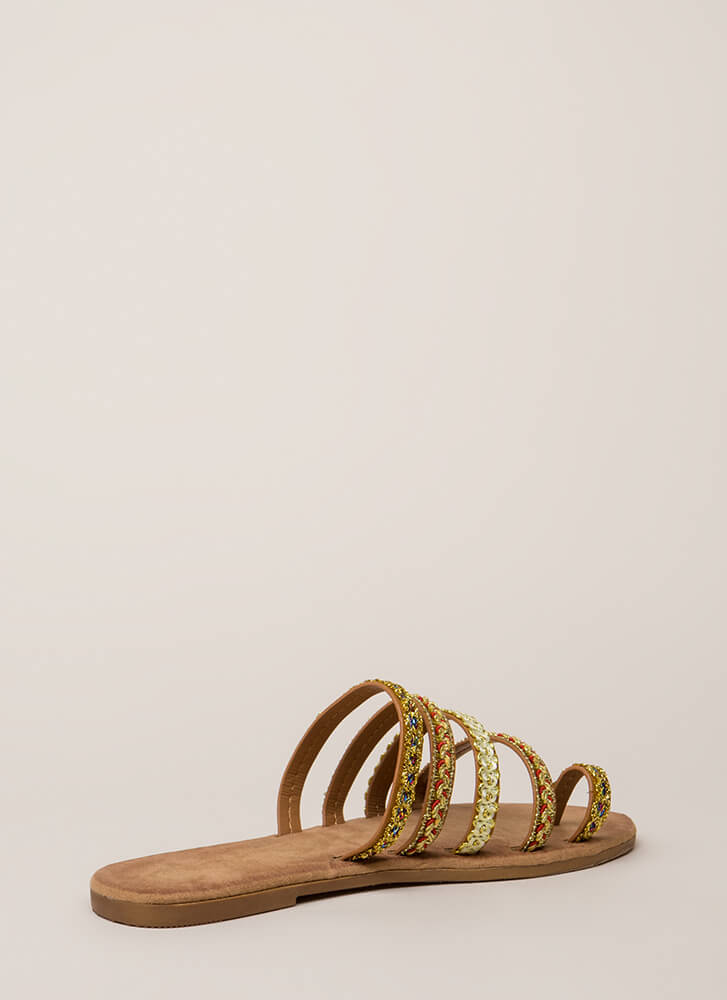 It's Sew You Strappy Embroidered Sandals TAN