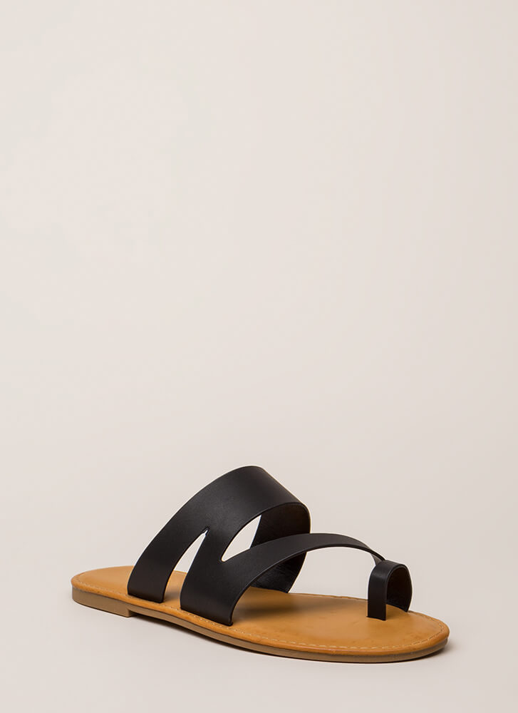 Shoreline Strappy Asymmetrical Sandals BLACK (Final Sale)