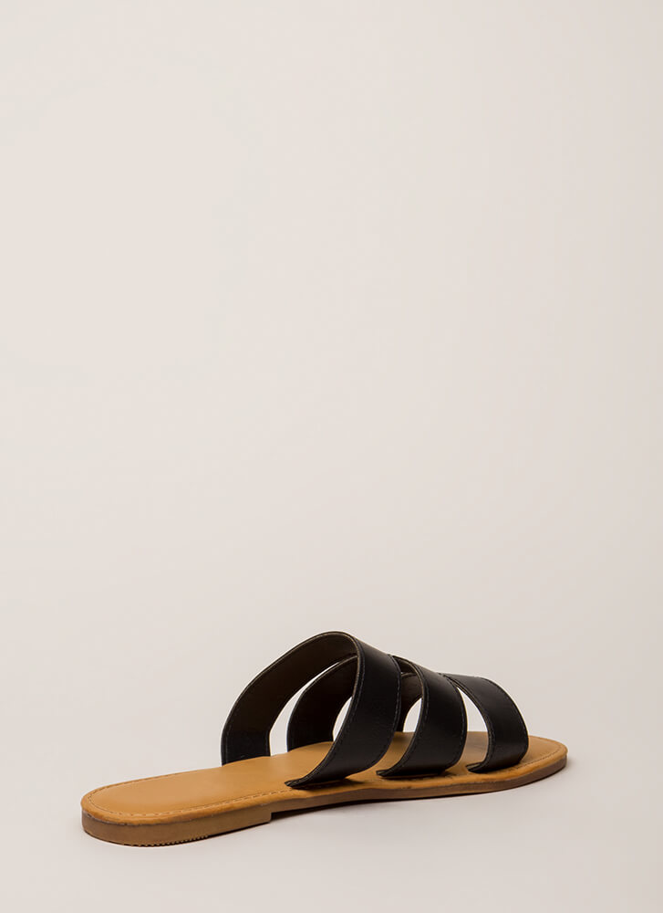 One Two Three Faux Leather Slide Sandals BLACK