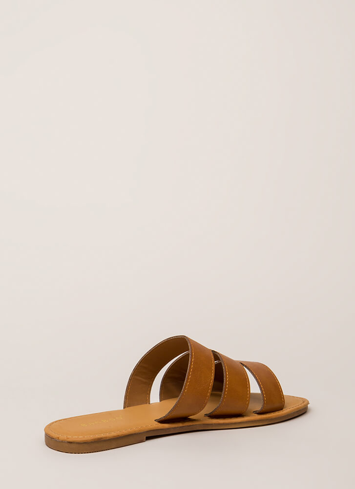 One Two Three Faux Leather Slide Sandals TAN