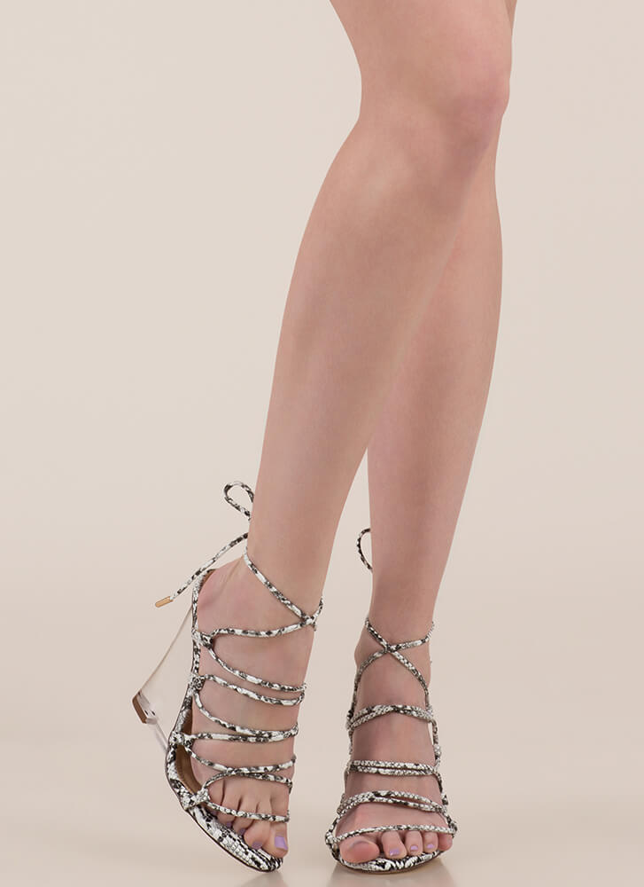 Clear My Head Lace-Up Faux Snake Wedges BLACKWHITE