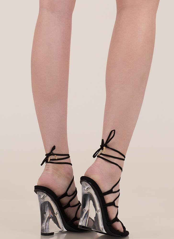 Clear My Head Lace-Up Faux Suede Wedges BLACK