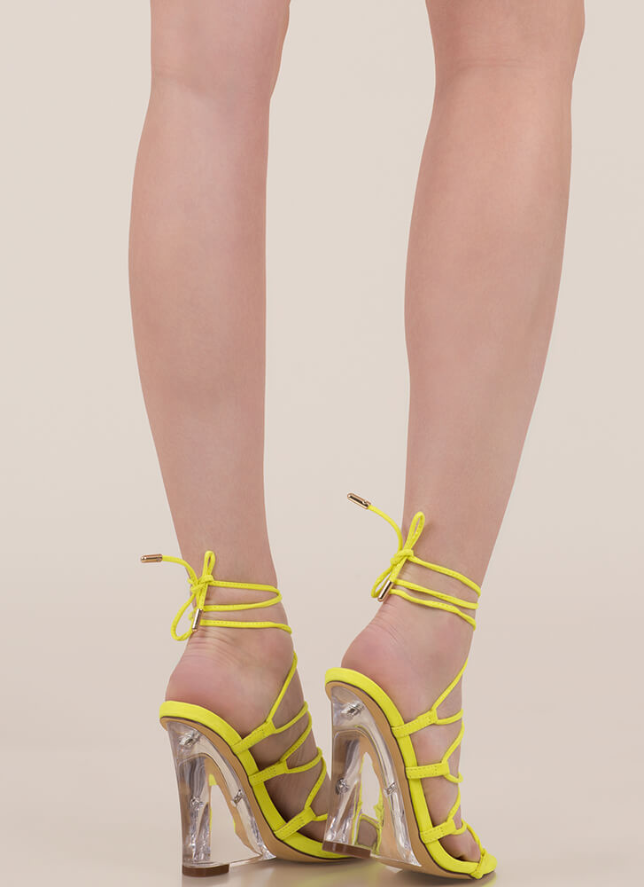Clear My Head Lace-Up Faux Suede Wedges YELLOW