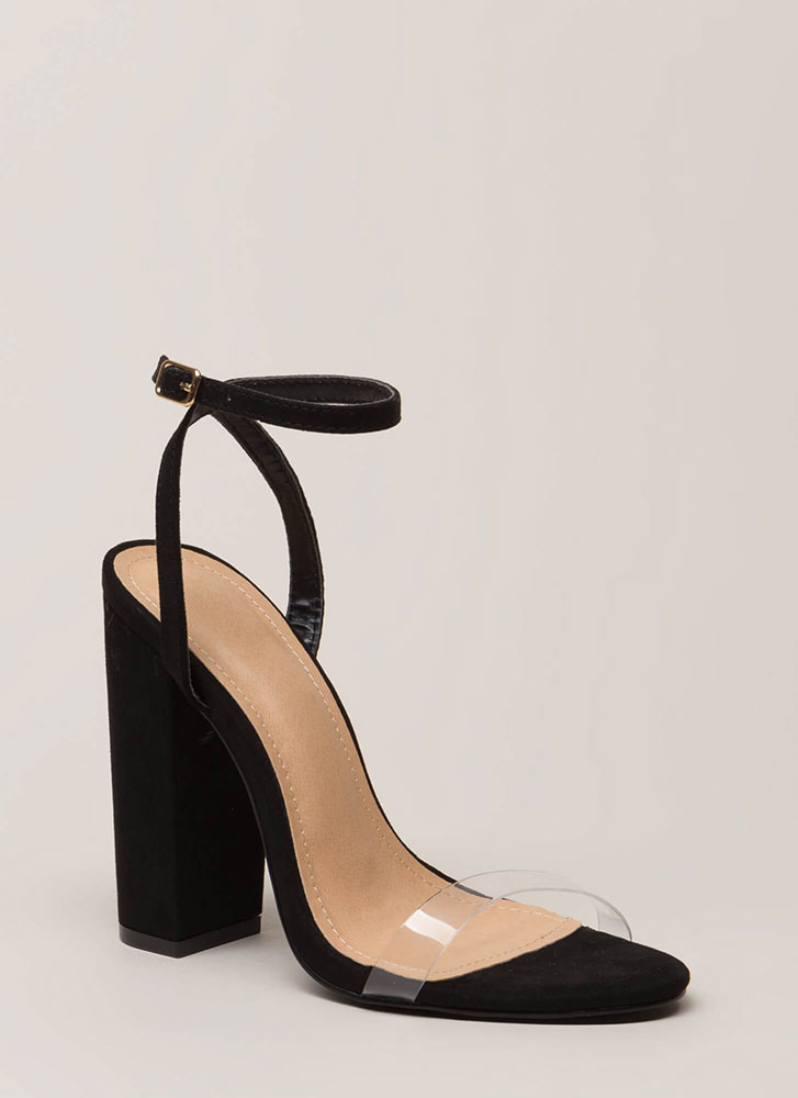 See-Thru You Chunky Clear Strap Heels BLACK