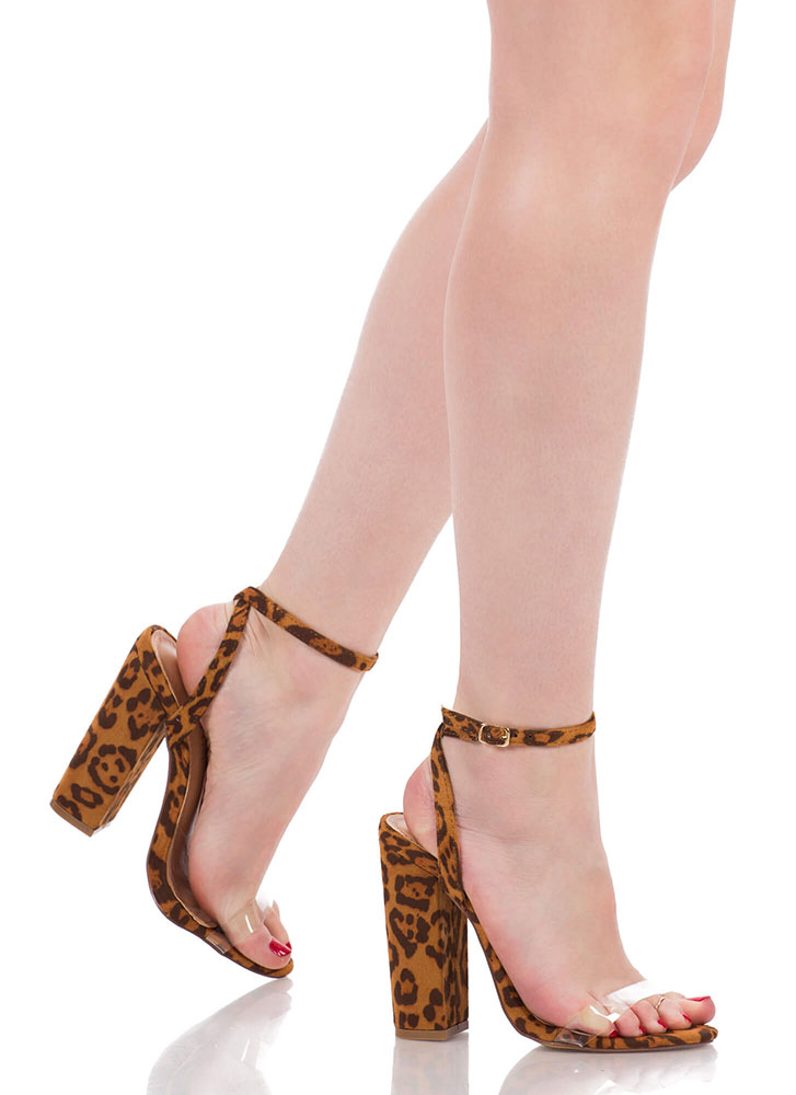 See-Thru You Chunky Clear Strap Heels LEOPARD