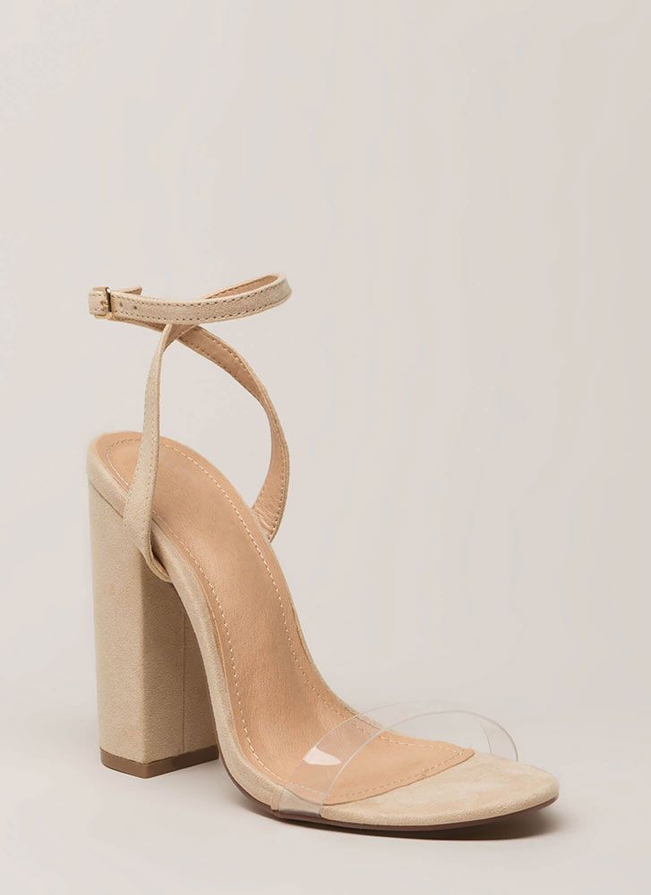 See-Thru You Chunky Clear Strap Heels NUDE
