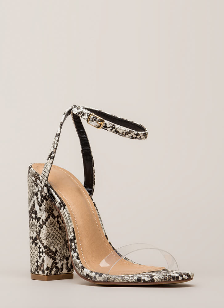 See-Thru You Chunky Clear Strap Heels SNAKE