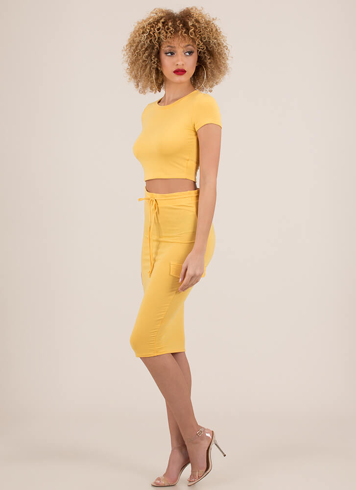 Casual Relationship Top And Skirt Set MUSTARD