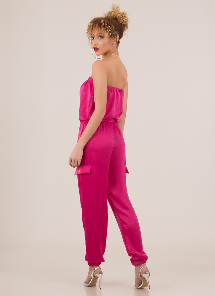 My Weekend Strapless Jogger Jumpsuit FUCHSIA (Final Sale)