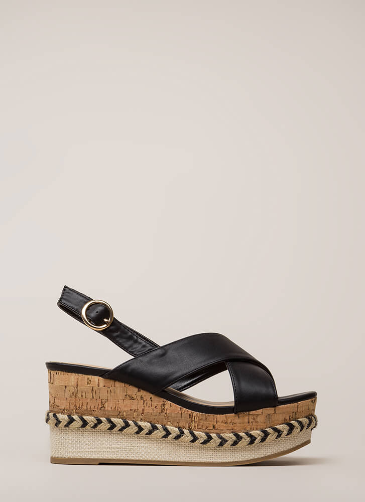 Boat Ride Trimmed Platform Wedges BLACK