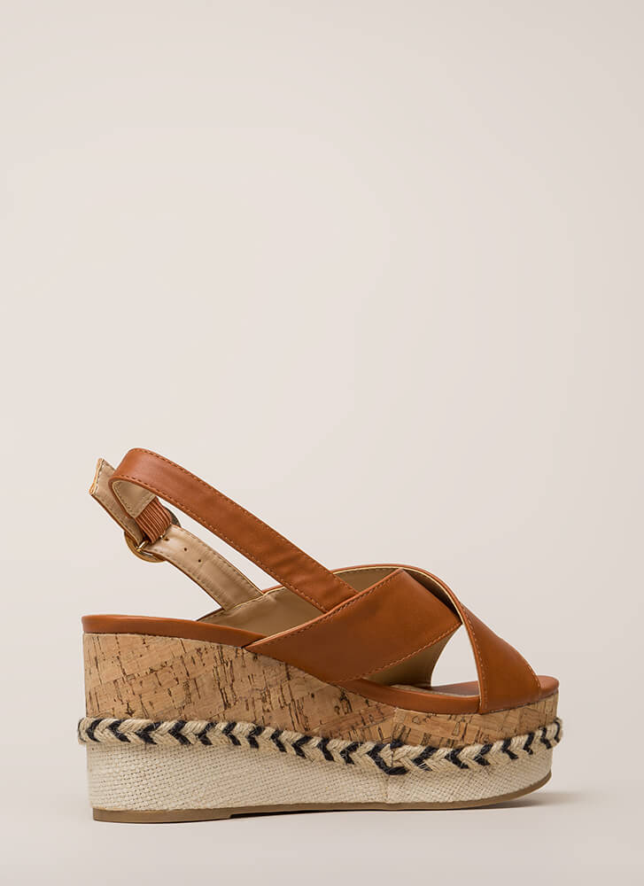 Boat Ride Trimmed Platform Wedges WHISKY