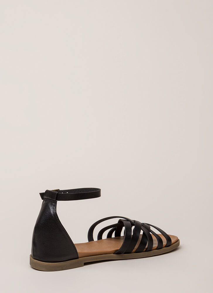Perfect Weather Woven Strap Sandals BLACK