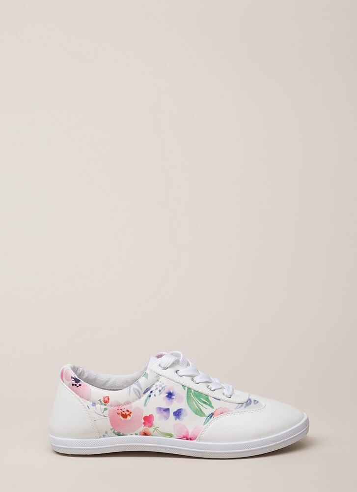 Watercolor Painting Floral Sneakers WHITE