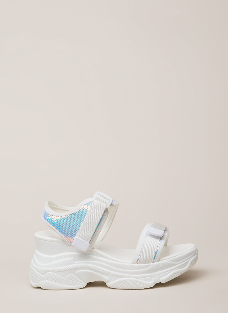 Sporty Touch Sequined Wedge Sandals WHITEWHITE