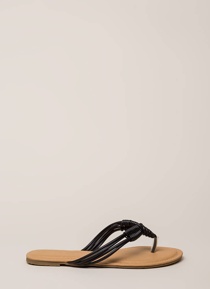 Wrap It Up Strappy Thong Sandals BLACK