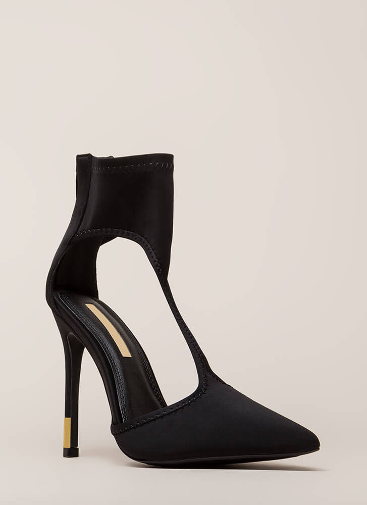Bootie-ful Feet Pointy Cut-Out Heels BLACK