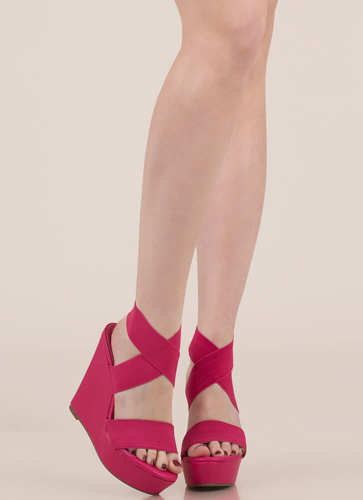 The X Game Banded Platform Wedges FUCHSIA