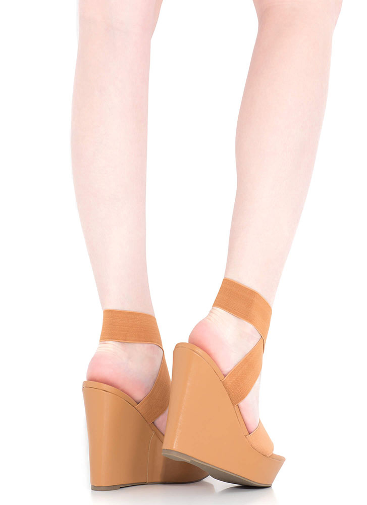 The X Game Banded Platform Wedges TAN