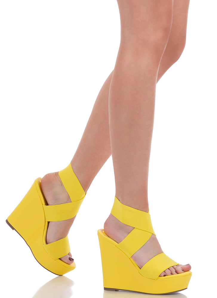 The X Game Banded Platform Wedges YELLOW
