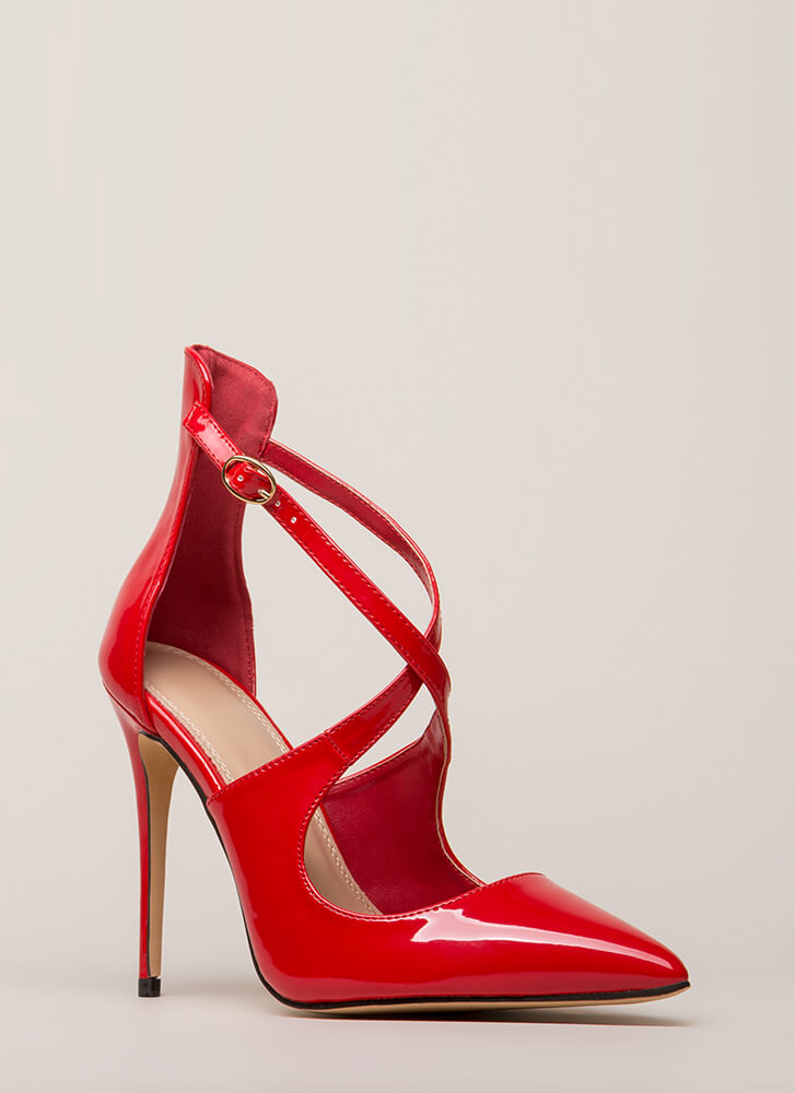 X-tra Credit Pointy Faux Patent Heels RED