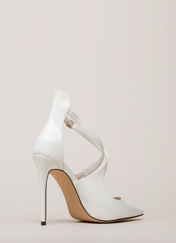 X-tra Credit Pointy Faux Patent Heels WHITE