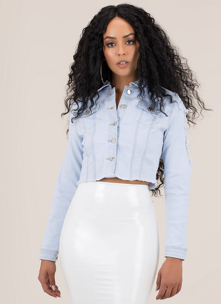 Love Chain Cut-Out Destroyed Jean Jacket LTBLUE