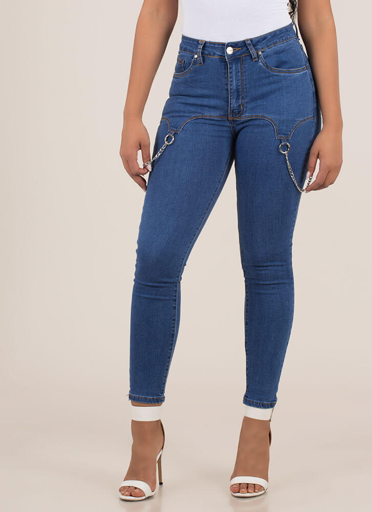 Put My Garter Up Chained Skinny Jeans BLUE (Final Sale)