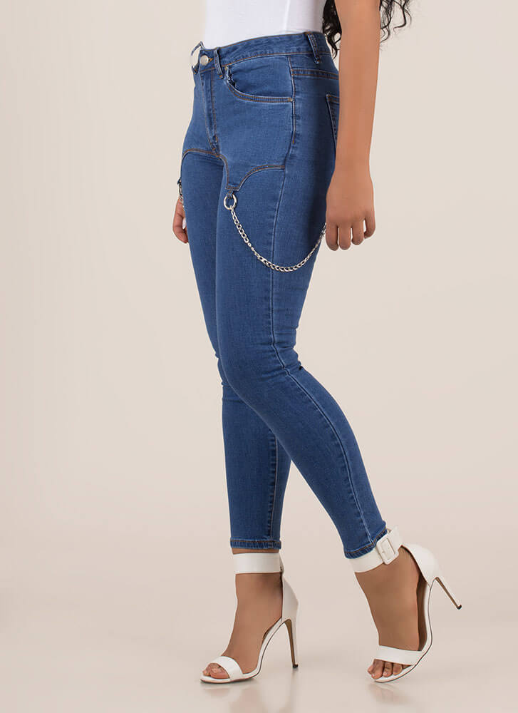 Put My Garter Up Chained Skinny Jeans BLUE