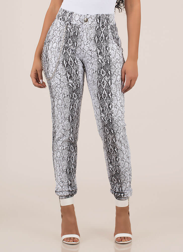 Snake Out Chained Denim Joggers WHITEBLACK